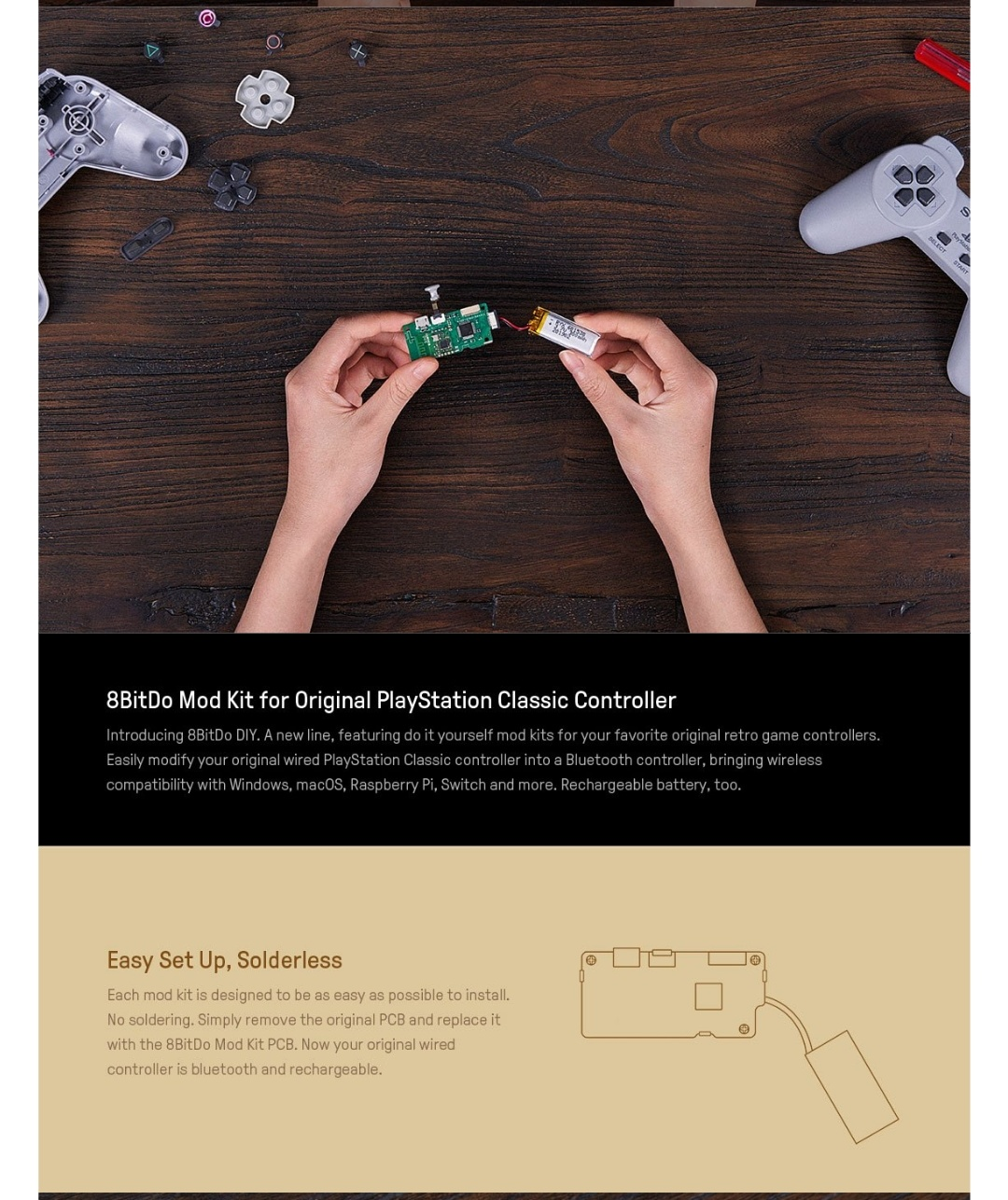 8Bitdo-Diy-Mod Kit-Playstation-Classic-Belchine-2