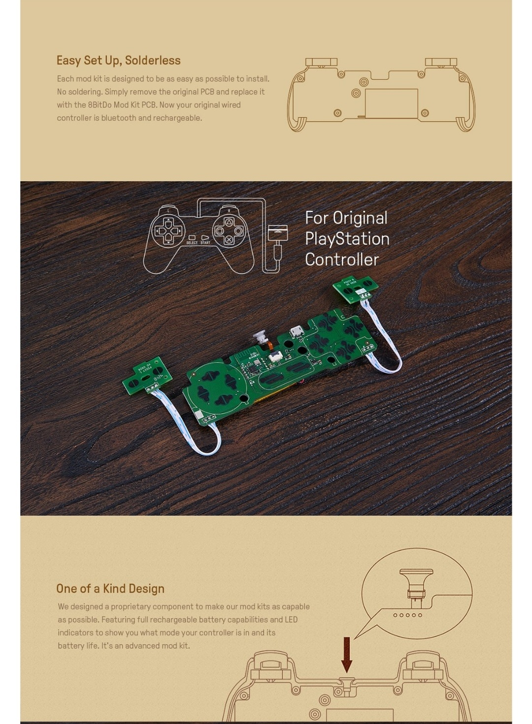 8Bitdo-Diy-Mod Kit-Playstation-Belchine-