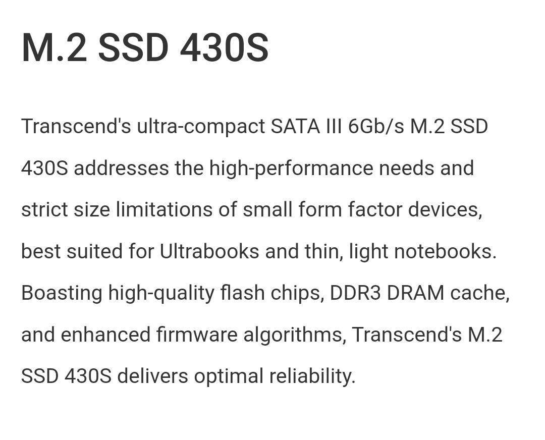 Transcend 512Go - M.2 SSD 430S - Belchine - 1